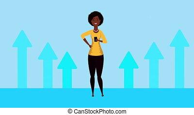 afro, flèches, statistiques, femme affaires