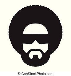 afro, fryzura, człowiek, sunglasses, afrykanin