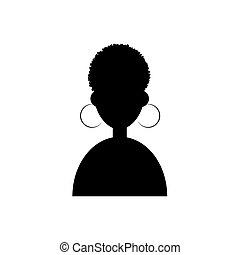Afro girl icon vector illustration on white background. Cartoon portrait of a afro girl. Avatar character.