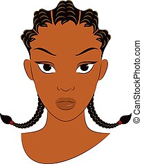 Afro Girl With Corn Row Braid Plait - Vector Illustration of...