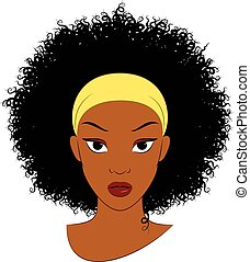 Afro Hair. - Vector Illustration of an Afro Girl with Curly...