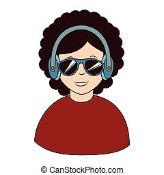 Afro hair headphones sunglasses icon, vector illustration