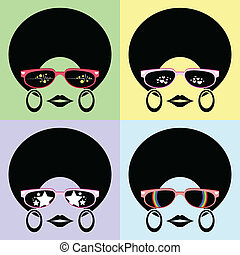 lady with afro hairstyle wear glasses styles vector