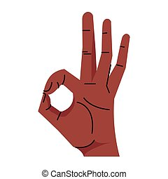 afro hand human aproved symbol gesture icon vector illustration design