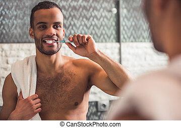 afro, homme, américain, salle bains