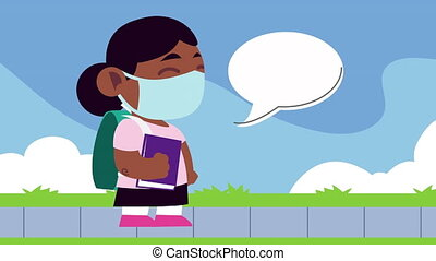 afro little student girl wearing medical mask character with speech bubble