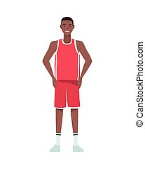afro man basketball player perfectly imperfect character vector illustration design