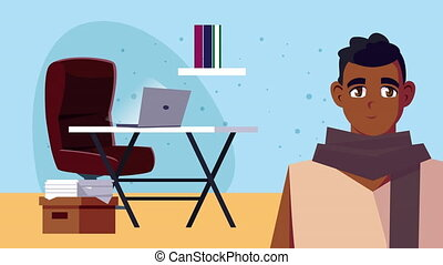afro man in office work at home campaign animation
