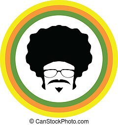afro, man, symbool, vector