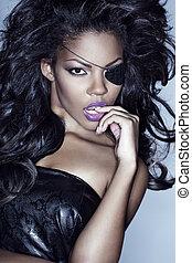 afro, modèle, américain