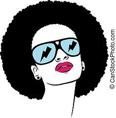 afro, mulher, óculos de sol