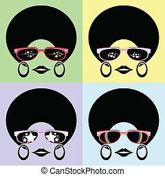afro, peinado, dama, uso, anteojos