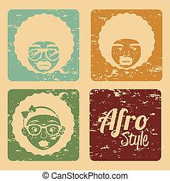 afro, projektować, styl