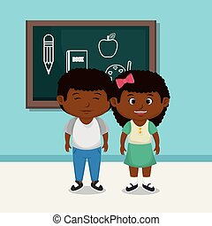 afro school kids couple with chalkboard vector illustration...