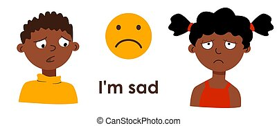 afro, solitude, caractères, désordre, américain, regret, garçon, pédagogique, dessin animé, expressions., gosses, emoticon., ressentiment, émotions, depressed., children., facial, triste, girl, douleur