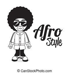 afro, stijl, ontwerp