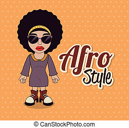 afro style design over dotted background vector illustration...