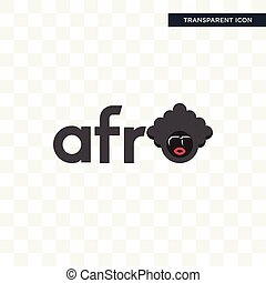 afro vector icon isolated on transparent background, afro logo design