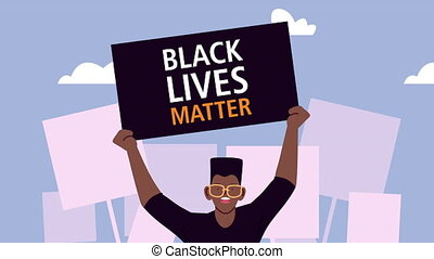 afro, vies, homme, bannière, lettrage, noir, matière