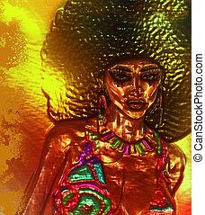 afro, vrouw, kunst