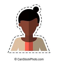afro woman bun hair sweater casual cutting line