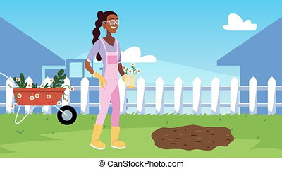 afro woman gardening animation with wheelbarrow in the camp