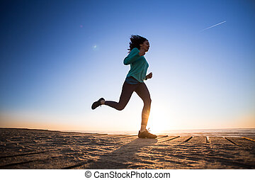 Afro woman running