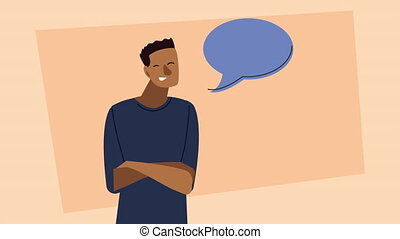 afro young man with speech bubble character animated