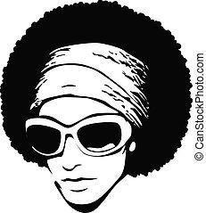 afro, z, sunglasses, rozrywajcie sztukę