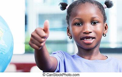 afroamerican, alapvető, diáklány, noha, remek, alatt, a,...