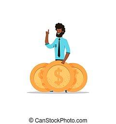 Afroamerican business man standing with big golden coins....