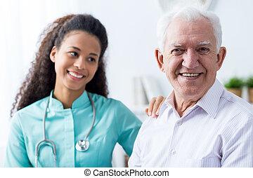 afroamerican, caregiver, és, öregember