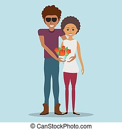 afroamerican couple lovely with flowers vector illustration...
