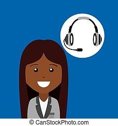 afroamerican girl headphones for support vector illustration...
