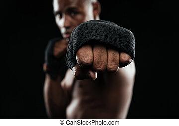 afroamerican, kickboxer, hajlandó verekszik