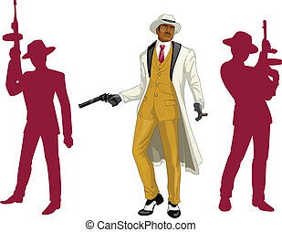 Afroamerican mafioso godfather with crew silhouettes -...
