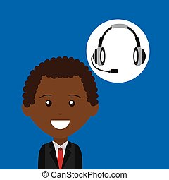 afroamerican man headphones for support vector illustration...