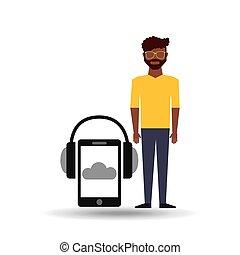 afroamerican man smartphone headphones music online vector...