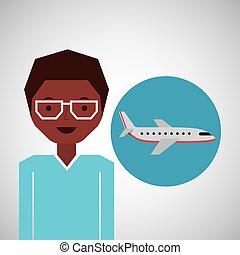 afroamerican man traveler airplane vector illustration eps...