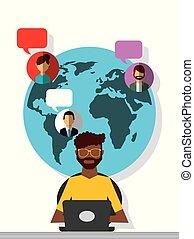 afroamerican man working laptop world people communication...