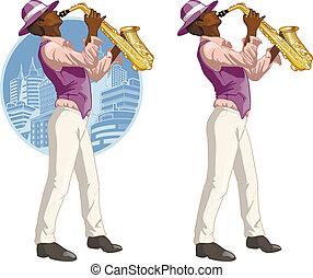 Afroamerican musician cartoon character - Afroamerican...