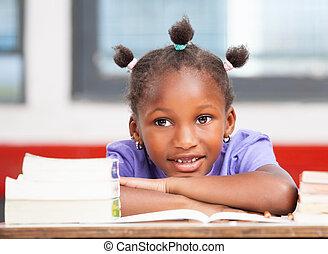 afroamerican, női hallgató, lefektetés, képben látható, a,...