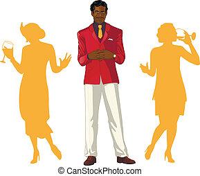 afroamerican, ospite, ospiti, femmina, festa, maschio