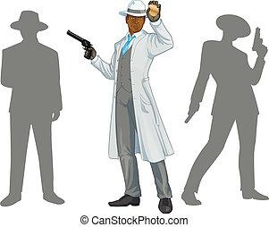 afroamerican, policía, jefe, y, gente, siluetas