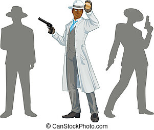 Afroamerican police chief and people silhouettes