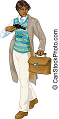 afroamerican, retro, niño, con, un, arma de fuego, caricatura, carácter