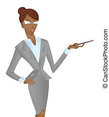 afroamerican, vrouw, in, kostuum, wijzende, vrijstaand, op...