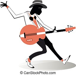 afroamericano, ilustración, guitarrista