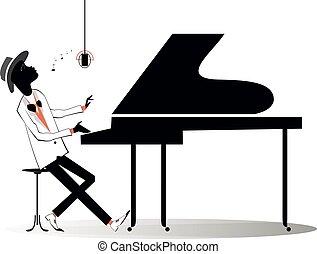 afroamericano, pianista, ilustración