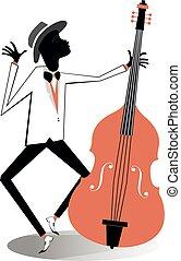afroamericano, violoncelista, ilustración